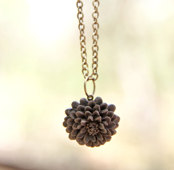Deep Brown Chrysanthemum Flower Necklace Vintage Inspired - Espresso