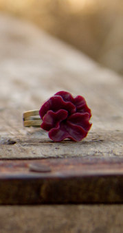 Red-Burgundy Lotus Flower Antique Brass Adjustable Ring Valentines Day Gift - Cabernet
