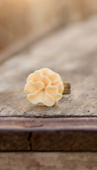 Yellow-Buttercream Lotus Flower Ring Modern Vintage Style - Buttercup