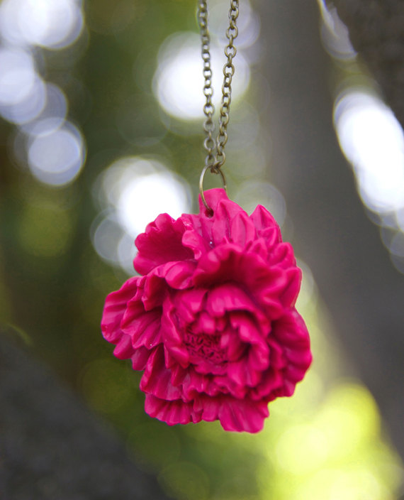 Deep Pink Peony Flower Necklace Vintage Style - Raspberry