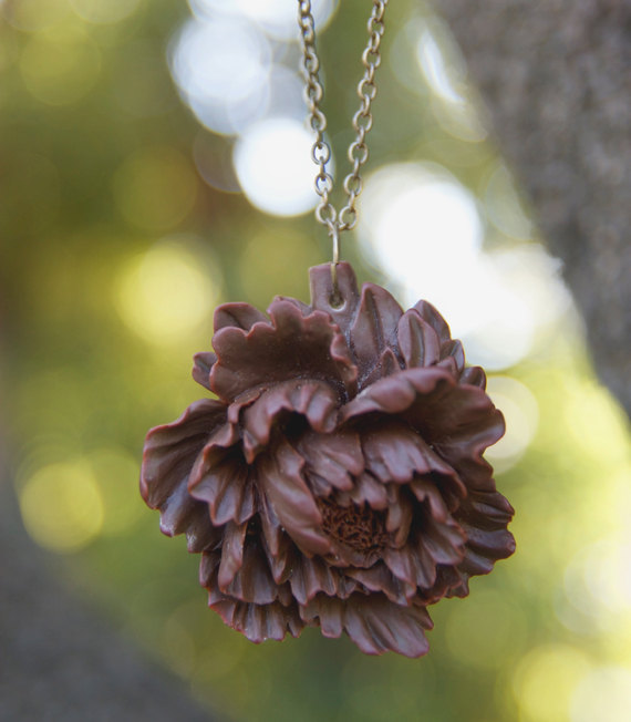 Dark Brown Peony Flower Necklace Vintage Style - Dark Chocolate