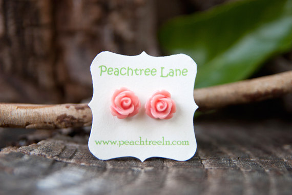 Coral Pink Rose Flower Stud Post Earrings, Bridesmaid Jewelry - Petal