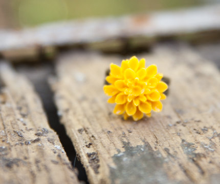 Mustard-Yellow Chrysanthemum Flower Adjustable Ring - Mustard