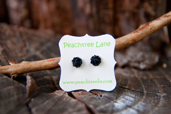 Tiny Black Rose Cabochon Post Earring Stud - Coal