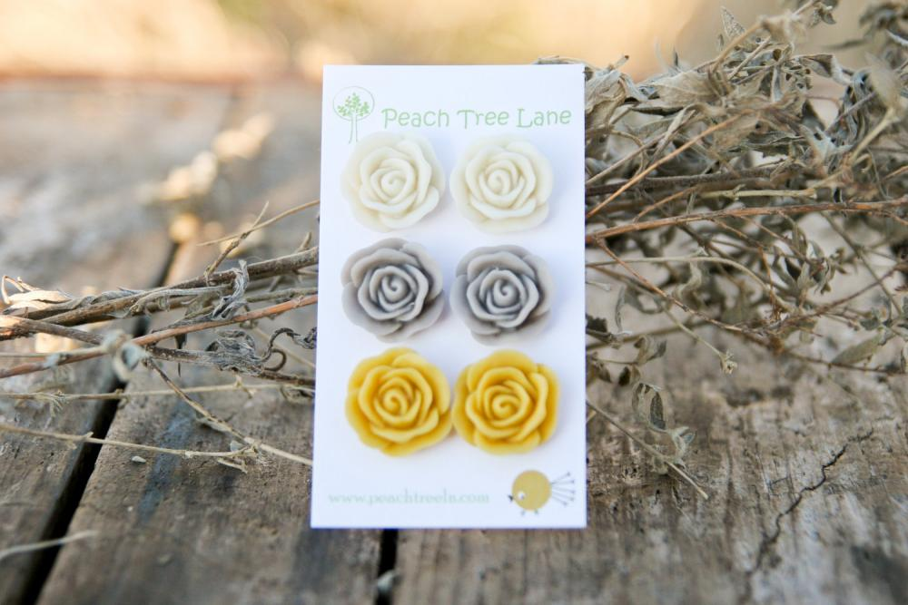 Large Rose Mustard Yellow, Cream, Grey Stud Earrings Perfect for Bridesmaid Gifts or Bridal Jewelry
