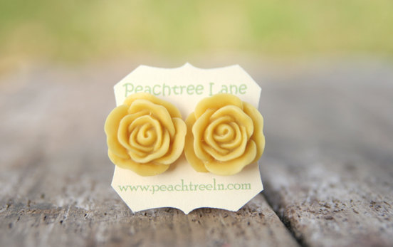 Large Mustard Yellow Rose Flower Earring Posts Maid of Honor Gifts, Bridesmaid Gifts