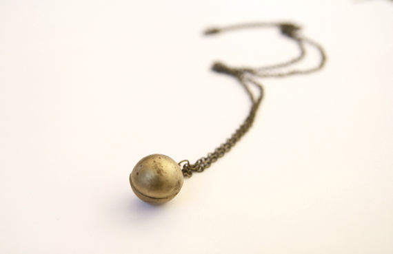Vintage Aged Brass Ball Locket Necklace from the 1970's