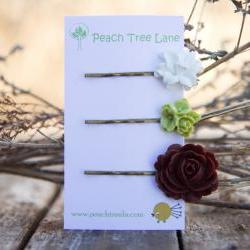 Brown Rose, White Lily, & Green Cabochon Hairpins Vintage Style - Juniper