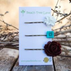 Turqoise-Blue, White Lily Flower, Brown Rose Cabochon Hairpins Vintage Style Hairpins - Lily Pad