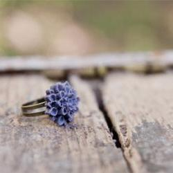 Chrysanthemum Deep Purple Antique brass Adjustable Ring - Starry Night