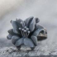 Grey Lily Flower Adjustable Vintage Style Ring - Storm