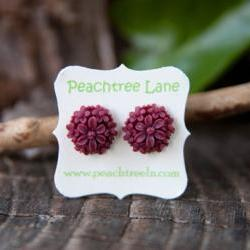 Red-Maroon Rose &amp; Daisy Flower Post Earrings - Wine