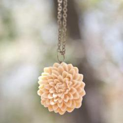 Pale Yellow Chrysanthemum Flower Necklace with an Antique Brass Chain - Julep