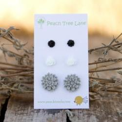 Grey, White, & Black Rose and Chrysanthemum Flower Post Earring Studs - Noir