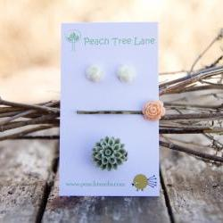Peach-Pink Rose Hairpin, White Rose Flower Studs, & Green-Moss Chrysanthemum Ring - Peachy Keen