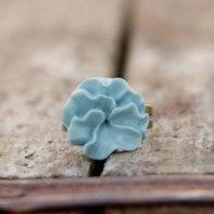 Blue Lotus Flower Antique Brass Ring Vintage Style - Sky