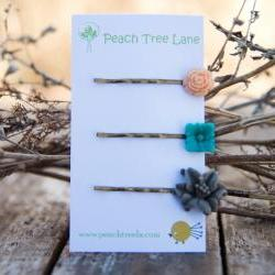 Grey Lily, Turquoise-Aqua, &amp; Peach Rose Cabochon Flower Hairpins Maid of Honor Gifts - Dew