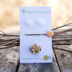 White Rose Earrings, Peach Rose Hairpin, Khaki-Tan Flower Bouquet Ring Assorted Set - Chai