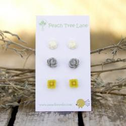 Mustard Yellow, Grey, &amp; Cream-Ivory Flower Post Earrings perfect for Bridesmaid Gifts - Heather