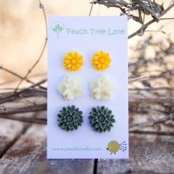 Mustard Yellow Daisy Earring Post, Cream-Ivory Flower Earring, Green-Moss Chrysanthemum Post Earring - Spring