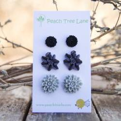 Grey Mum, Purple Lily, & Black Chrysanthemum Flower Post Earring Set Vintage Style - Dusk