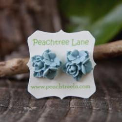Blue Rose & Lily Flower Cabochon Post Earring Studs - Belle
