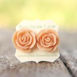 Large Peach Rose Flower Stud Earrings perfect for Bridesmaid or Maid of Honor Gifts